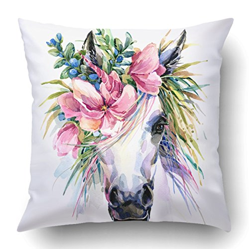Emvency Pillow Covers Decorative Watercolor Unicorn White Horse in Flower Wreath Bulk with Zippered 18x18 Square Pillow Case for Home Bed Couch Sofa Car One Sided