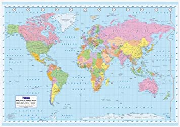 political world map giant poster print 55x39 giant
