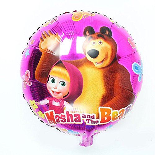 [RusToyShop] 1 Psc Metal Inflatable Balloon Masha and Bear for a Holiday Children's Kids Party Party Favor Party Supplies Invitation Deco Russian Cartoon