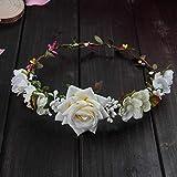 Wreath Girl Head Flower Crown Bridal Hair Accessories Artificial Flower Head Wreath for Hair Wedding Garland Headpiece Ivory