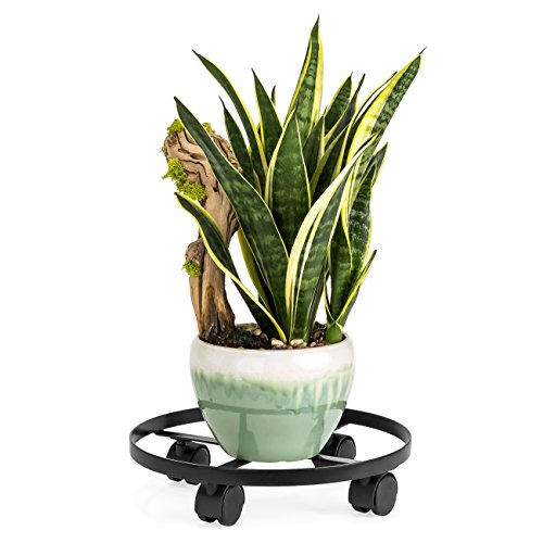 Best Choice Products 14in Indoor Outdoor Heavy Duty Metal Round Rolling Plant Stand Caddy w/4 wheels - Black by Best Choice Products