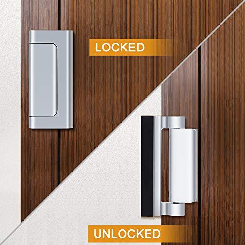 Home Security Door Lock, Childproof Door Reinforcement Lock with 3'' Stop Withstand 800 lbs for Inward Swinging Door, Upgrade Night Lock Double Protection Your Home (Silver-2 Pack) by Senignol (Image #7)