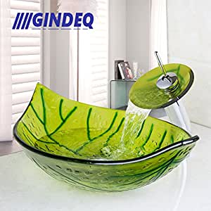 GINDEQ Leaf Shaped Bathroom Tempered Glass Vessel Basin Sink With Waterfall Chrome Faucet Drain Set