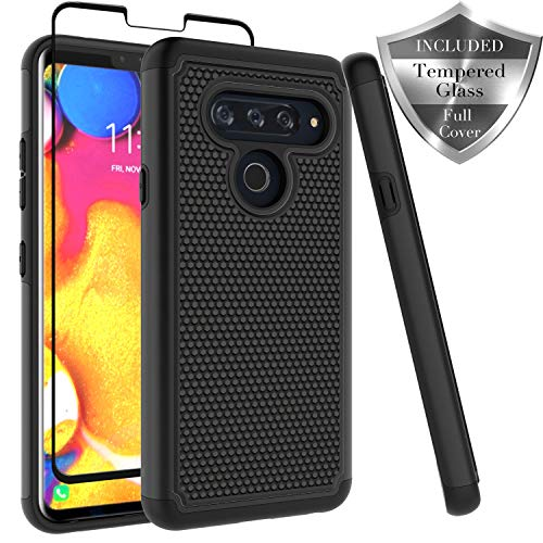 LG V40 ThinQ Case, Dual Layer [ Full Coverage Tempered Glass Screen Protector ] Anti-Scratch Rugged Heavy Duty Premium Protection Case Cover for LG V40 ThinQ - Black