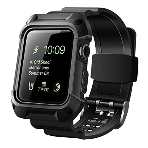 baozai Rugged Protective Case with Band Compatible with Apple Watch 42mm Series 3 Series 2 Series 1 - Black