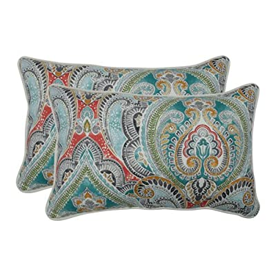 Pillow Perfect Outdoor | Indoor Pretty Witty Reef Rectangular Throw Pillow (Set of 2), Blue - Includes two (2) outdoor pillows made with 100-percent t-spun polyester fabric, resists weather and fading in sunlight; suitable for indoor and outdoor use Plush fill - 100-percent polyester fiber filling Edges of outdoor pillows are trimmed with coordinating fabric and cord to sit perfectly on your outdoor patio furniture; made in usa - patio, outdoor-throw-pillows, outdoor-decor - 51mrmN1fwsL. SS400  -