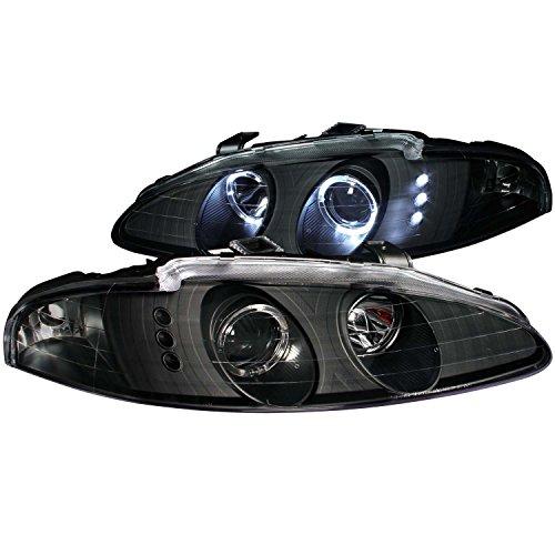 96 Mitsubishi Eclipse Halo Projector - Anzo USA 121349 Black Halo Projector Headlight