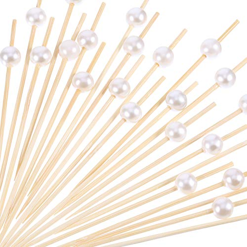 (Blulu 200 Pack Cocktail Picks 4.7 Inch Fruit Sticks Pearl Bamboo Toothpicks for Wedding Birthday Party Supplies)