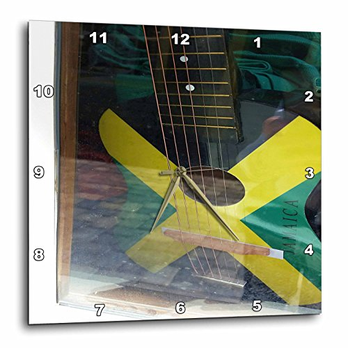 3dRose Florene Cruise Ships Sites - Image Of Jamaican Guitar Painted In Flag Colors - 15x15 Wall Clock (dpp_253699_3)