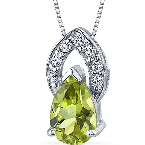 Captivating Allure 1.25 carats Pear Shape Sterling Silver Rhodium Nickel Finish Peridot Pendant