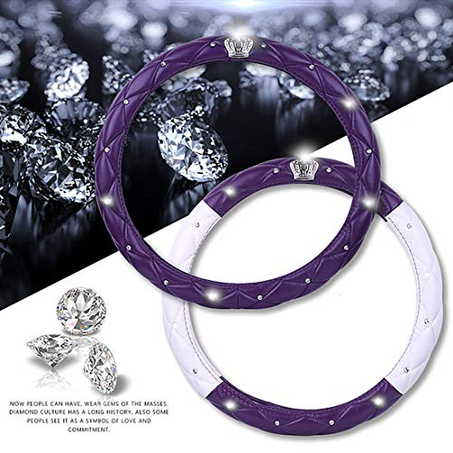 Amazon.com: Qimei Goddesss Car Steering Wheel Cover with Bling Diamond + Stylish Lattice Design + Soft Durable Leather Elegant Accessories Universal ...