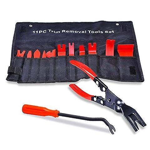 KIPTOP 13 Pcs Auto Trim Removal Tool and BONUS Clip Pliers & Fastener Remover (Trim Pad Removal Tool)