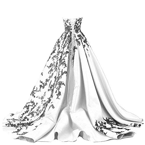 Beaded Gothic Black Lace Long Ball Gown Satin Prom Evening Dresses White US 10