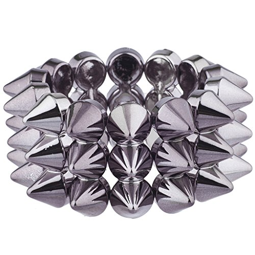 Lux Accessories Hematite Tone Multi Row Edgy Gothic Spike Stretch Bracelet