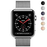 Apple Watch Band 42mm, KYISGOS Strong Magnetic Milanese Loop Stainless Steel Replacement iWatch Strap for Apple Watch Series 3 2 1 Nike+ Sport and Edition, Silver