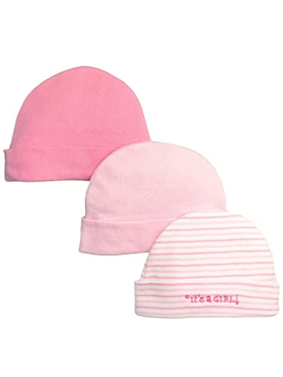 Amazon.com  It s a Boy   It s A Girl 3 Pack Newborn Baby Knit Caps by  Goldbug - Pink - 0-6 Mths  Baby 3ee60b7be507