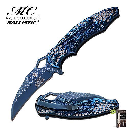 Hibben Chrome Knife - SPRING-ASSIST FOLDING POCKET KNIFE Blue Chrome Dragon Claw Tactical Carbon Sharp Blade Knife + Free eBook by SURVIVAL STEEL
