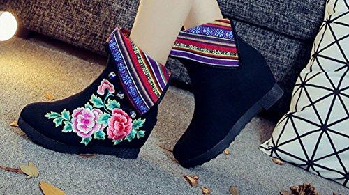 Avacostume Kvinners Bomull Flerfarget Stoff Broderi Boots Black