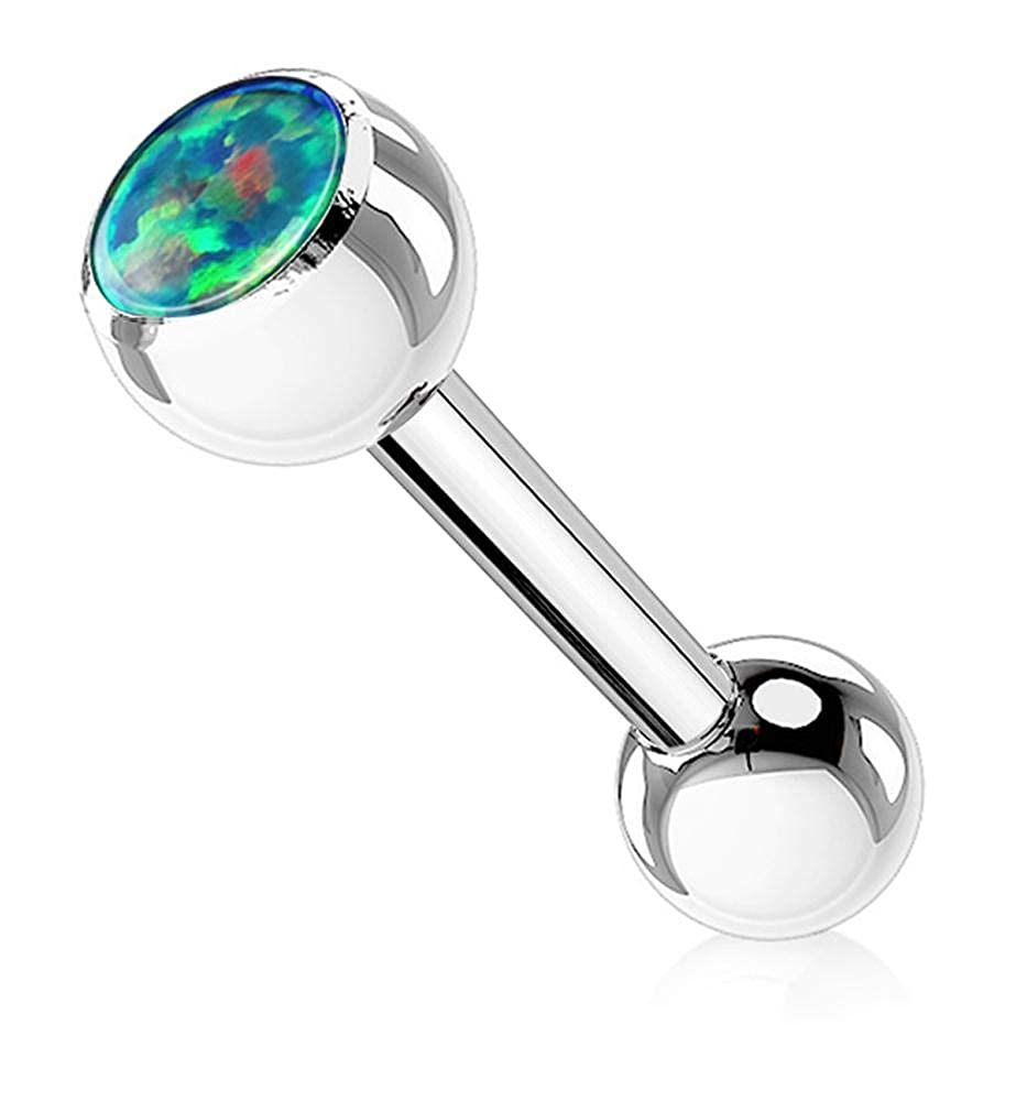 Forbidden Body Jewelry 14g 16mm Surgical Steel Tongue Piercing Barbell with 6mm Opalite Ball Top