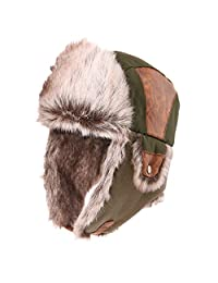 Siggi Trapper Hat Faux Fur Aviator Hat with Ear Flaps Mens Russian Winter Cold Weather Hat Women ArmyGreen