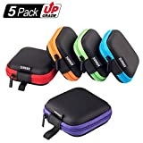 SUNGUY [5-Pack] Square Carrying Case Cellphone Earphone Headset Earbuds Pouch Storage Bags
