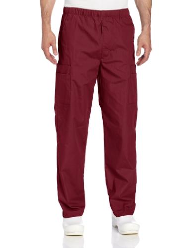 (Landau Men's Big and Tall Comfort 7-Pocket Elastic Waist Drawstring Cargo Scrub Pant, Wine, 3X-Large)