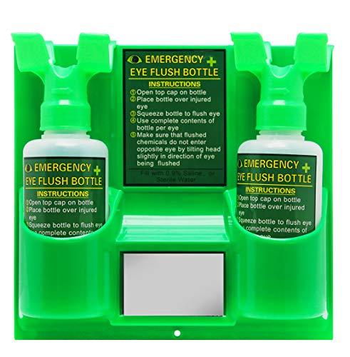 CGOLDENWALL Plastic Wall Mounted Emergency Eyewash Station Portable Eye Washer laboratory portable Eye wash skin wash Shower Face Shower plastic double empty bottle (Double eye)