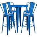 Flash Furniture 30'' Round Metal Indoor-Outdoor Bar Table Set with 4 Cafe Stools