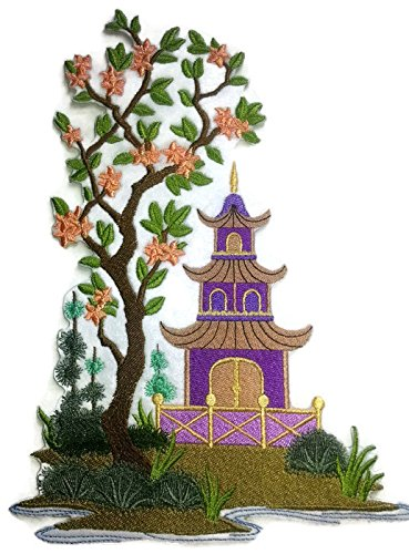 Amazing Custom[Chinoiserie Pagoda Panel] [Rich Japanese Culture and Tradition] Embroidered Iron On/Sew Patch [9.79