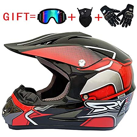 Amazon.es: lanlan casco de Motocross hombre, casco Integral Clásico + Guantes + gafas de sol + máscara M gris