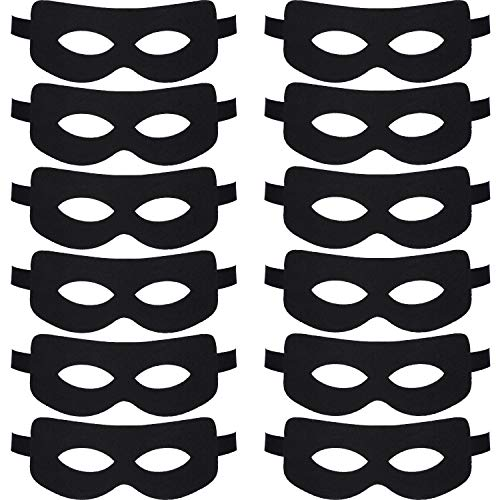 Black Hero Eye Masks Masquerade Felt Masks Cosplay Bandit Eye Mask for Halloween Party Costume Accessories (12 Pieces)]()