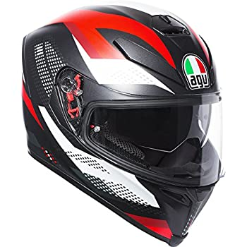 AGV K-5 S MARBLE MATT BLACK WHITE RED