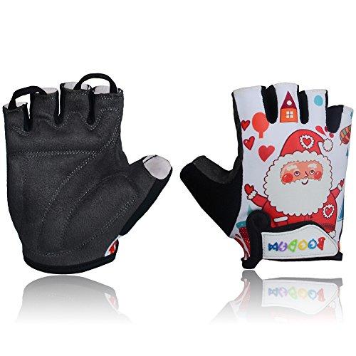 MIFULGOO Kids Padded Cycling Gloves Children Half Finger Bicycle Gloves for 3-8 Years Old Boys Girls for Balance Bike Roller Skate Scooter Inline Skating Skateboard (Santa, (Ice Skating Santa)