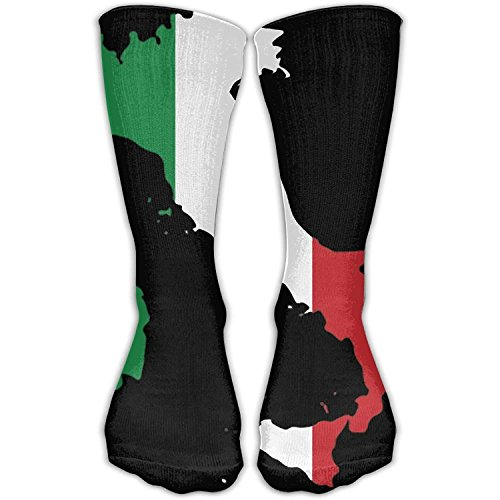 Italy Flag Map Unisex Novelty Crew Socks Ankle Dress Socks Fits Shoe Size 6-10 by Debigkco