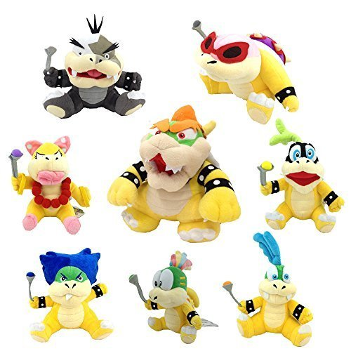 Latim One Set of 8 Super Mario Bros Plush Toy King Bowser Kids Koopalings Koopa Larry Iggy Lemmy Roy Ludwig Wendy Morton Soft Figure (Mario And Luigi Superstar Saga All Bosses)