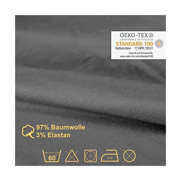 51mrogNe6BL PRONOVATION® Oeko-TEX Spannbettlaken für Wohnmobil & Wohnwagen - 3 teilig in grau - 97% Baumwolle, 3% Elastan, Heckbett…