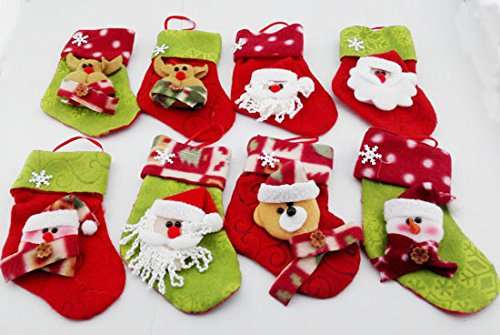 [Christmas Tree Decorations 24pcs/lot 15x10cm Santa Claus&snowman&deer Christmas Stockings Christmas Decorations for Home S117] (College Jungle Party Costume Ideas)