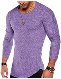 Mens Long Sleeve Pin Stripe Solid Crewneck Luxury Pullover Tees Top