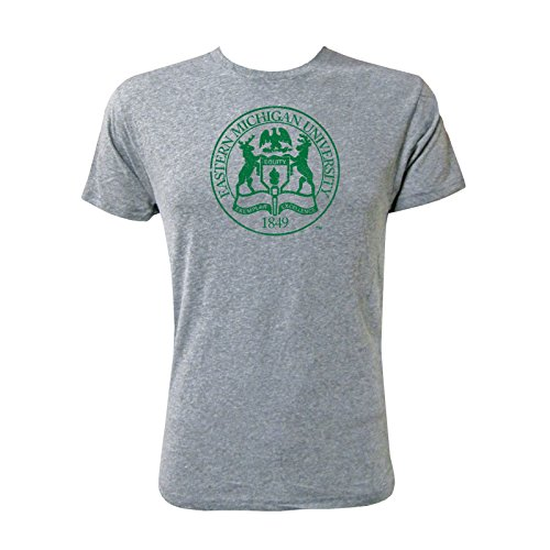 UGP Campus Apparel Eastern Michigan University Distressed Seal Mens T-Shirt - X-Large - NLA Premium Heather