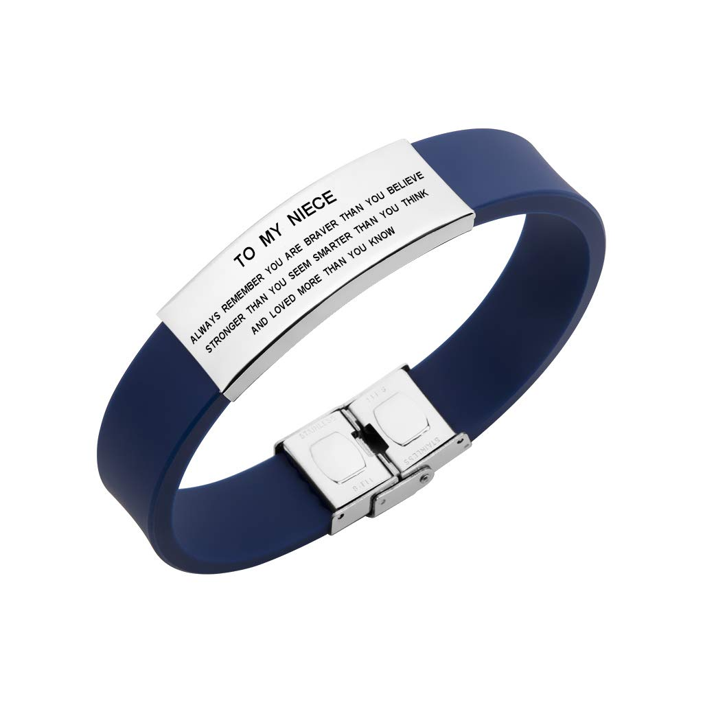 Freedom Love Gift to My Niece Always Remenber You are Braver Girls Inspirational Bracelet from Aunt Uncle (Blue) by Freedom Love Gift (Image #1)