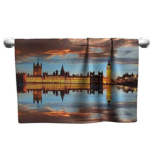 (xixiBO Hand Towel W10 x L10 London,Splendent Scene of Big Ben Westminster Cloudy Night Thames River Image,Warm Taupe Orange Yellow Oversized, Bright Colors)