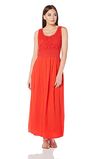 50c24996501 Roman Originals Womens Cotton Embroidered Maxi Dress - Ladies Summer Beach  Sundress - Cruise Holiday Elegant Long Hippie Dresses A Line - Red   Amazon.co.uk  ...
