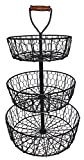 Handcrafted Rustic Wrought Iron 3-Tier Chicken Wire Countertop Basket for Fruit, Vegetables or Cosmetics