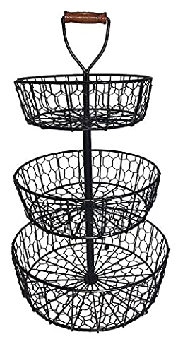 3 Tier Wrought Iron Chicken Wire Basket Stand with Wooden Handle