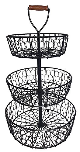 rought Iron 3-Tier Chicken Wire Countertop Basket for Fruit, Vegetables or Cosmetics (Tier Iron)