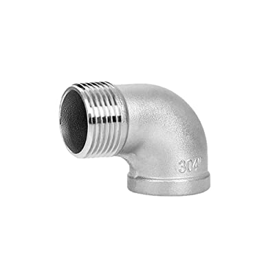 1PC Female x Male Thread Reducing Elbow 90 Degree Angled SS 304 Pipe Fitting