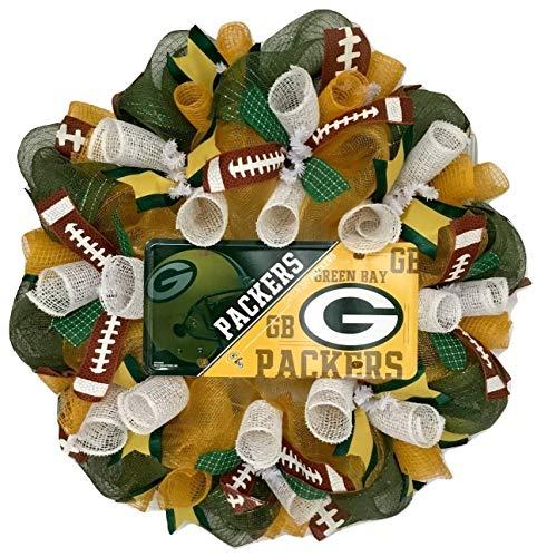 Green Bay Packers Football Sports Wreath Handmade Deco Mesh]()