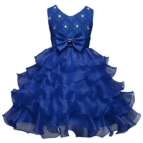 Csbks Girls Wedding Party Dress Pageant Baby Ruffles Tulle Princess Dresses 6-12 Months Dark Blue