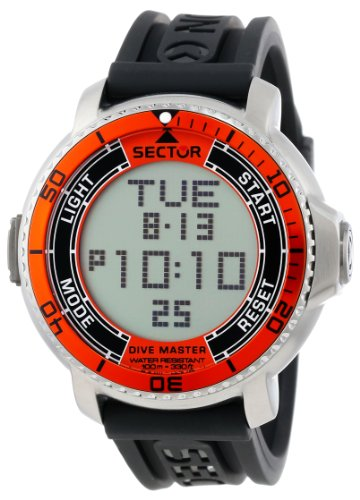 Sector Men's R3251967001 Stainless Steel Diving Watch with Black Resin Band