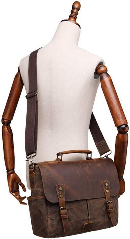 Color : Deep Grey LHQ-Camera Bag Waterproof Retro Crazy Horse Leather Shoulder Bag DSLR SLR Canvas Shockproof Camera Bag Camera Bag